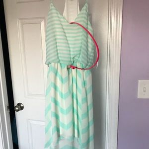 Turquoise and White Dress